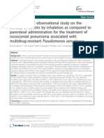 A retrospective observational study on the efficacy of colistin by inhalation as compared to parenteral administration for the treatment of nosocomial pneumonia associated with multidrug-resistant Pseudomonas aeruginosa