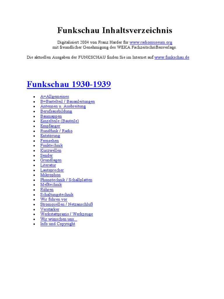 Funkschau Inhalt 1930-1939