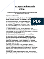 Aportaciones y Alimentación de China