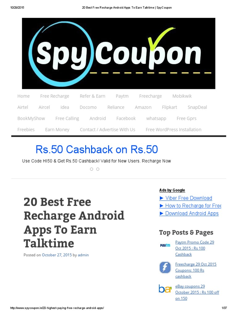 20 Best Free Recharge Android Apps to Earn Talktime _