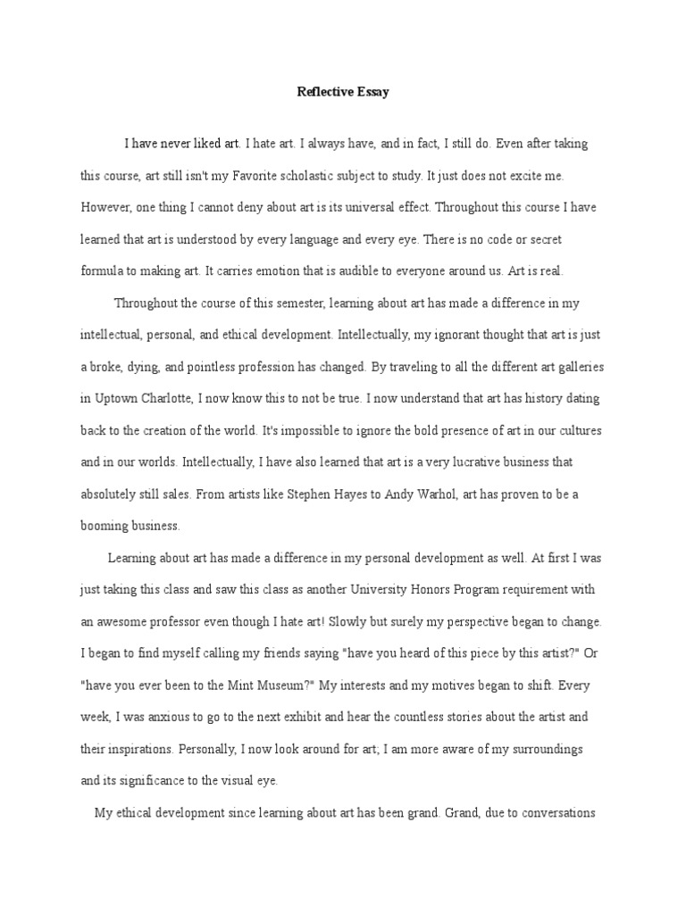 art reflection essay