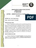 Syllabus Administración Calidad Total