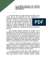 Documento Del Consejo Nacional Del Partido Justicialista Sobre Restitución Del 15
