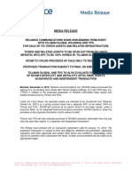 Reliance Communications Signs Non-Binding Term Sheet with Tillman Global Holdings and TPG for Sale of its Tower Assets and Related Infrastructure [Company Update]