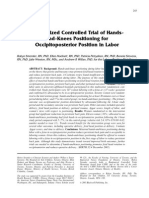 Randomized Controlled Trial of Hands-And-knees Positioning for Occipitoposterior Position in Labor