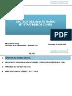Secteur de l'Eau Au Maroc Et Strategie de l'Onee