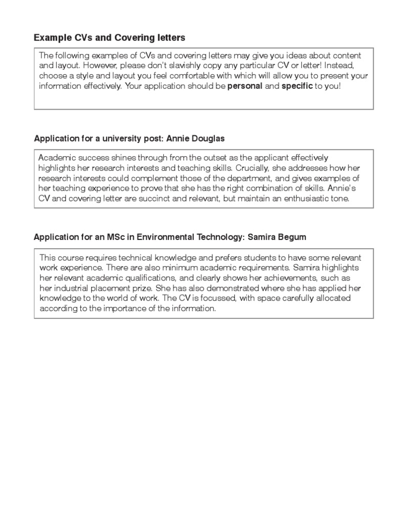 how to write a cv covering letters