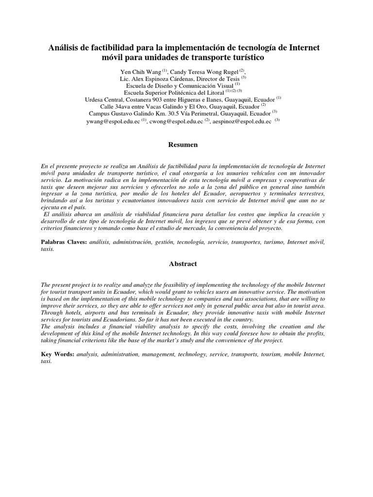 Análisis de Factibilidad Para La Implementación de Tecnología de ...