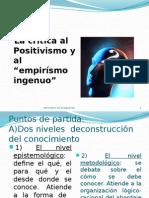 La Critica Al Positivismo