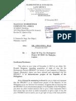 Letter Dated 23 November 2015 (MHCI)