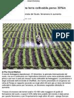 Erosione Consuma Terra Coltivabile,Perso 30%in 40anni