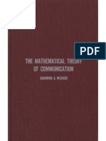 Shannon Claude E Weaver Warren the Mathematical Theory of Communication 1963