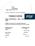 term paper by irfan bashir on the separation of promotership from company mgmt.