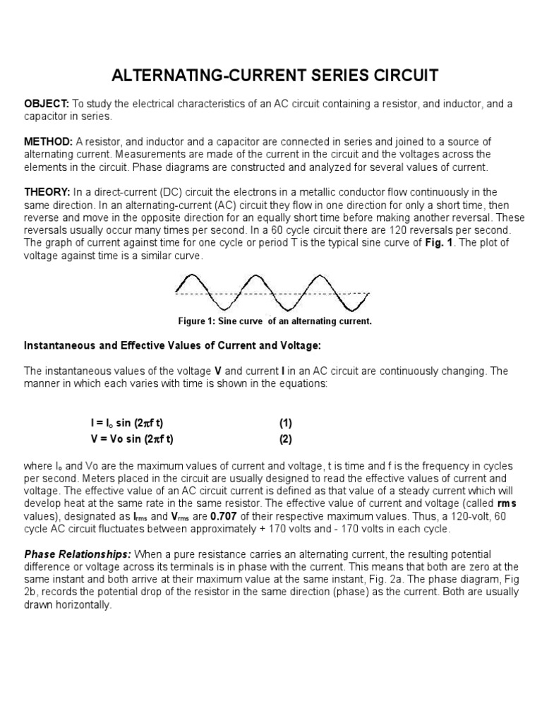 Alternating Current Series Circuit Electrical Impedance Inductor Voltage Drop In A