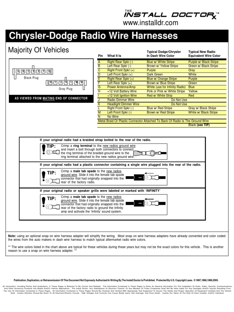 Snap On Wire Harness Wiring Diagram For Light Switch Single Chrysler Dodge Radio Harnesses Electrical Connector Rh Scribd Com Adapter