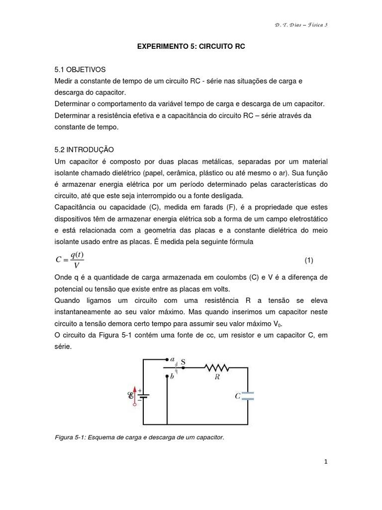 Circuito Rc : Roteiro 5 circuito rc