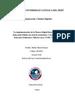 Implementación de La Pizarra Digital Interactiva en La Educación Pública en El Nivel Secundaria. Caso Institución Educativa Villa Los Reyes