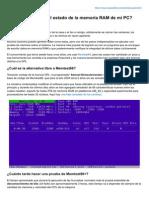 Como comprobar el estado de la memoria RAM de mi PC, Carlos R. Maldonado