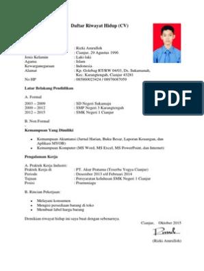 18+ Contoh surat daftar riwayat hidup pdf terbaru yang baik dan benar