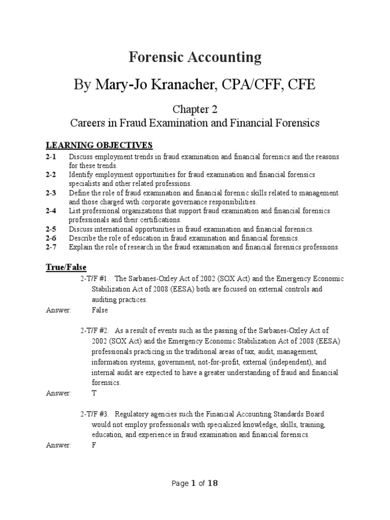 Educational Qualification For Forensic Accounting Careers Chapter 2 Test For Forensic Accounting Fraud Examination