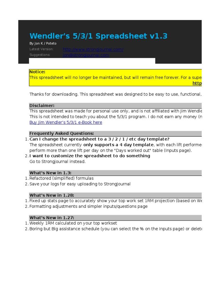 Wendler 5 3 1 V13 Spreadsheet Weight Training