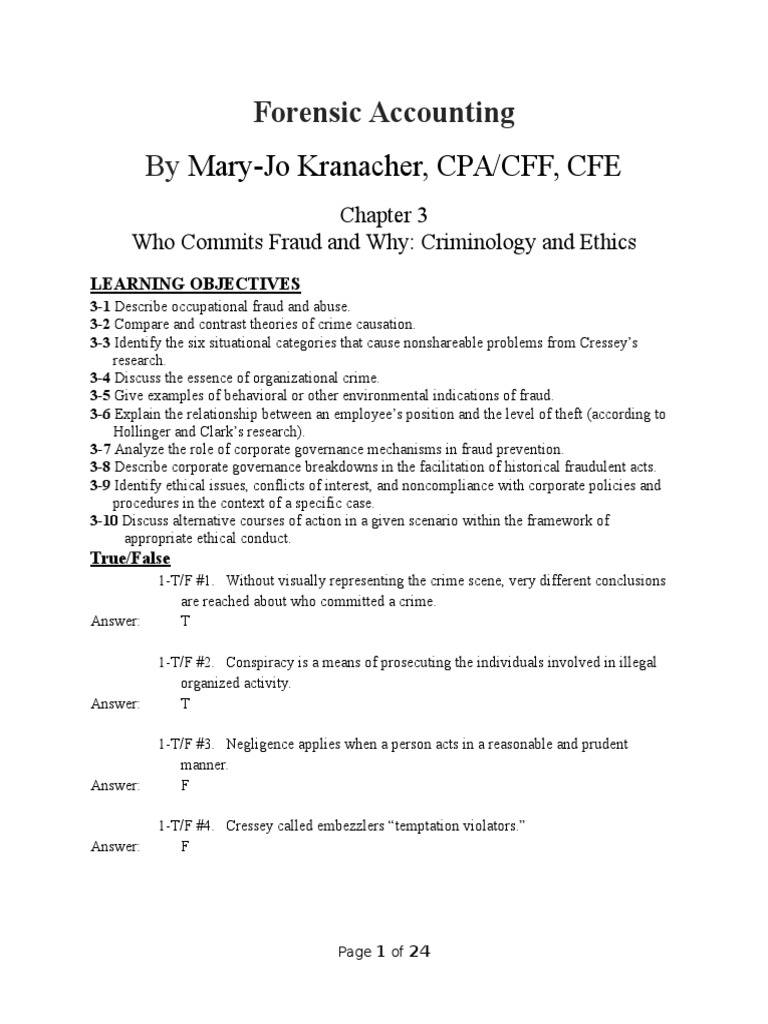 Chapter 3 Test For Forensic Accounting Fraud Examination 1 E