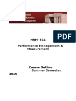Course Outline HRM 511 Perf Mgt Summer 2015