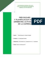 Previsiones y Planificacion de Las Diferentes Actividades de La Empresa