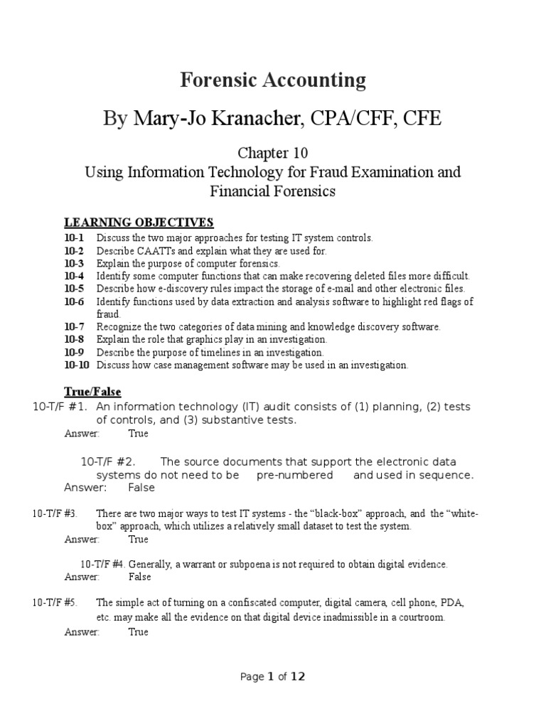 Chapter 10 Test for Forensic Accounting & Fraud Examination