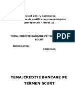 ATESTAT Credite Bancare Pe Termen Scurt