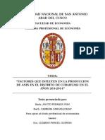 Factores Que Influyen en La Produccion de Anis Año 2013 20141