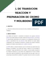 # 3 # Reaccion y Preparacion de Cromo y Molibdeno