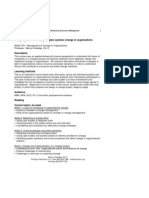 Mgmt of Change in Organization - BSAD 376 Z1 - Course Syllabus or Other Course-Related Document