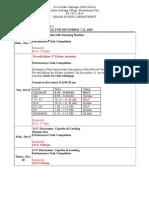 ug schedule for december 7-11 2015