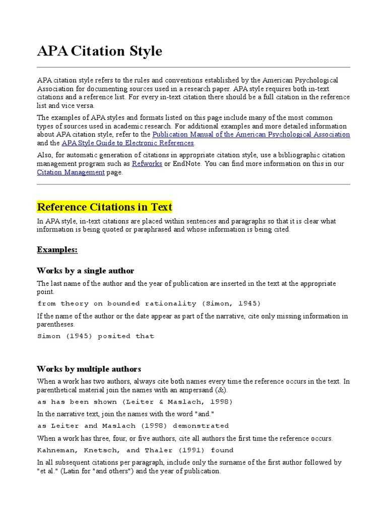 research papers using apa style for reference only