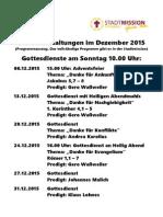 Monatsprogramm Schaukasten Dezember 2015