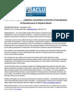ACLU Homeless Commitee Press Release