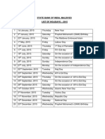 Sbi List of Holidays-2015