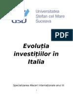 Evolutia investitiilor in Italia