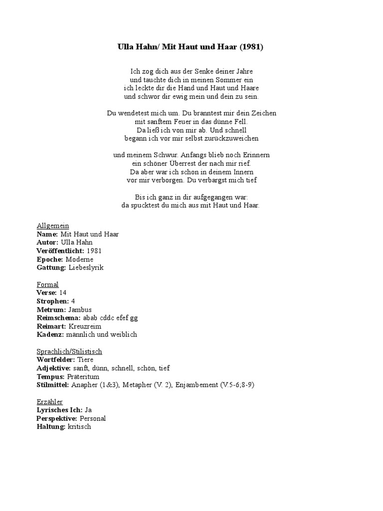 Mit Haut Und Haar- Ulla Hahn | Rhyme | Lyric Poetry
