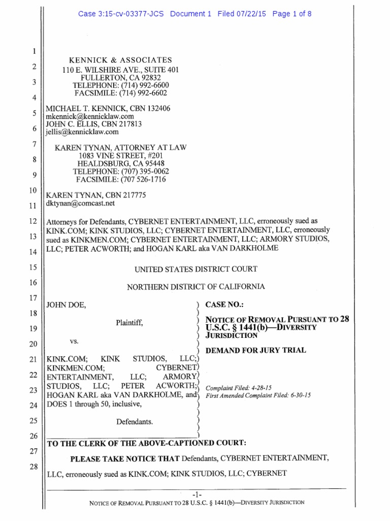 John Doe vs. Kink.com | Diversity Jurisdiction | Lawsuit