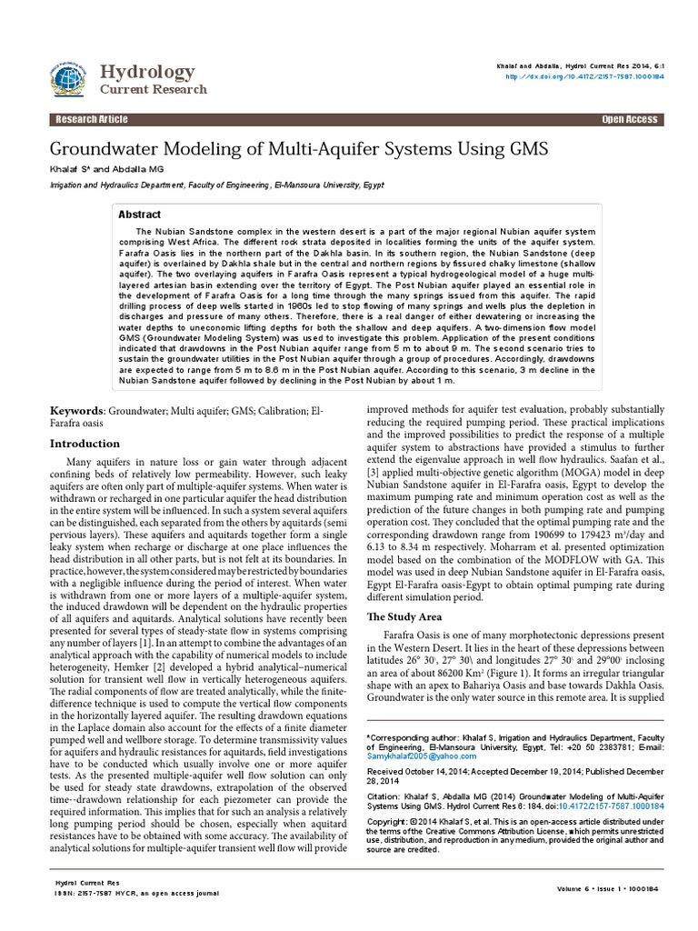 Groundwater Modeling Of Multiaquifer Systems Using Gms Aquifer - Groundwater prospect map of egypt's qena valley