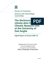 March 31, 2010 - British Parliament Climategate investigation report