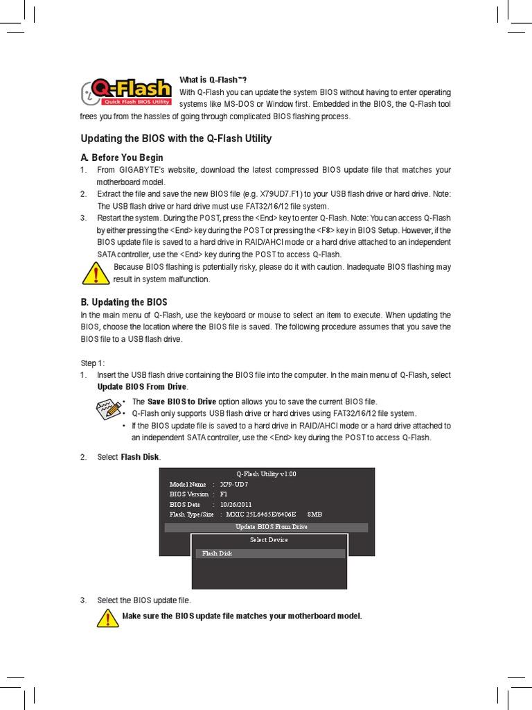 Gigabyte Q-Flash Manual   Bios   Booting