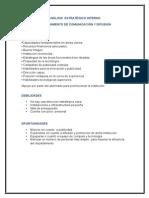 ANÁLISIS ESTRATÉGICO INTERNO Depto de Comunicacion y Difusion