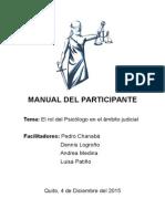 """Taller """"El rol del Psicólogo en el ámbito judicial"""" - Manual de Participante"""