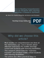 critical factors in reading comprehension instruction for students teaching ppt  1