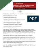 Strategija Za Stalno Unapređivanje Kvaliteta Zdravstvene Zaštite i Bezbednosti Pacijenata