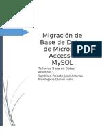 Migración de Base de Datos de Microsoft Access a MySQL