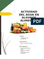 Actividad Del Agua en Algunos Alimentos
